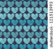 Seamless blue pattern with doodle hearts. Endless decorative romantic texture - stock vector