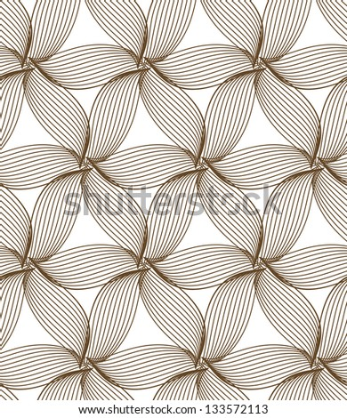 seamless brown abstract line floral pattern background
