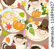 Seamless brown thanksgiving pattern with cute American Indians, pilgrims, turkey and pumpkins. Vector illustration - stock vector