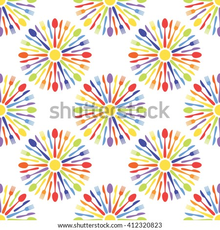 Seamless Cafe Cutlery Colorful Pattern Background