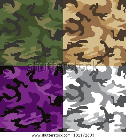 Seamless camouflage pattern in multiple colors