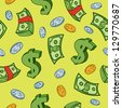 Seamless cartoon money and dollar sign pattern. - stock photo