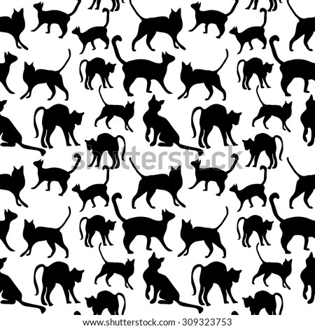 Seamless cat pattern. Animals textile collection. Abstract vector background. Black and white. Backgrounds & textures shop.