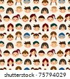seamless child face pattern - stock photo