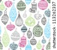 Seamless christmas ornament decoration illustration background pattern in vector - stock