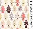 Seamless Christmas Tree Background in natural color scheme. Vector Version. - stock photo