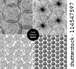 Seamless circle background black set. Endless patterns with round elements, dots, spirals collection. Can use for arts, cards, textile, wallpapers, web pages - stock