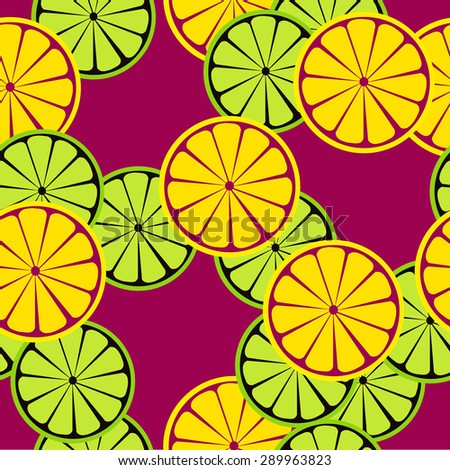 Seamless citrus pattern. Fruit vector background. Summer bright background with lemon and orange.