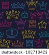 Seamless color crown pattern on dark background. Vector illustration - stock vector