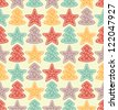 Seamless color pattern with stars and christmas trees. Vector illustration - stock vector