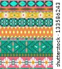 Seamless colorful aztec pattern with birds, and arrow - stock vector