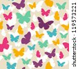 Seamless colorful butterfly pattern. Vector illustration - stock vector