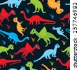 Seamless colorful dinosaur kids illustration background pattern in vector - stock vector