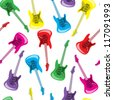 Seamless colorful guitars background - stock vector