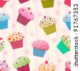 Seamless colorful vector cupcake pattern - stock vector