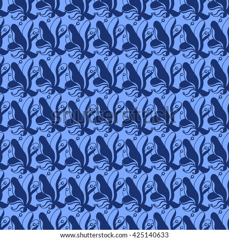 Seamless creative hand-drawn pattern of stylized flowers in cornflower and cerulean blue colors. Vector illustration.