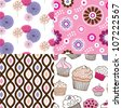 Seamless cupcake flower background pattern in vector - stock vector