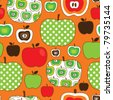 Seamless cute apple illustration pattern background in vector - stock vector