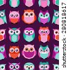 seamless cute cartoon owls birds pattern background - stock vector