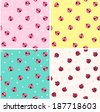 seamless cute ladybird pattern vector illustration.Painted in 4 different ways.  - stock vector