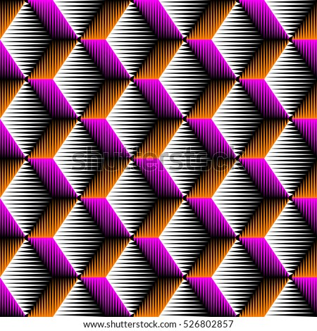 Seamless 3d Rhombus Pattern. Vector Volume Background. Pink and Orange Fashion Ornament. Decorative Geometric Wallpaper