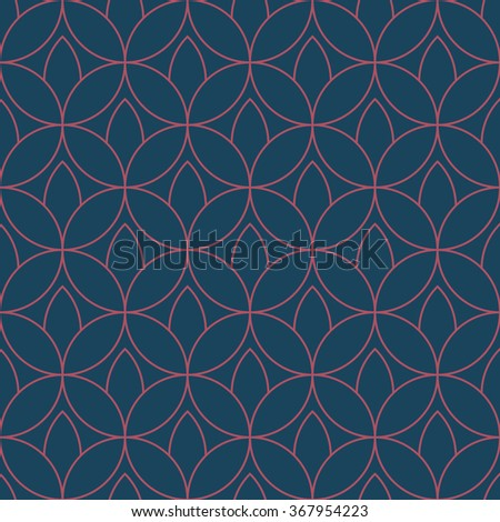 Seamless dark blue and burgundy floral outline fashion textile pattern vector
