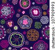 Seamless dark flower pink blue drawing background pattern in vector - stock photo