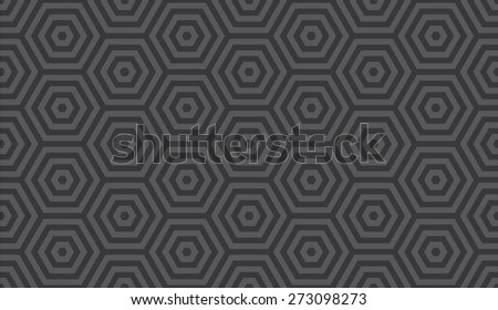 Seamless dark gray op art hexagon illusion pattern vector