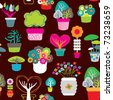 Seamless decoration flower pattern plants background in vector - stock photo