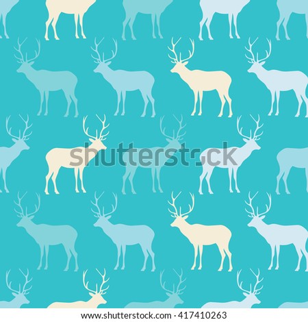 Seamless decorative vector background with deer. Print. Cloth design, wallpaper.