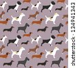 Seamless dogs pattern - stock vector