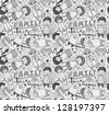 seamless doodle family pattern - stock vector