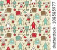 seamless doodle pattern with colorful robots - stock photo