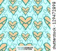 seamless doodle pattern with heart shaped envelops - stock vector