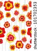 Seamless doodle stick red floral pattern. - stock photo