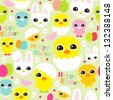 Seamless easter egg bunny and chicken birds background pattern in vector - stock vector