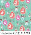 Seamless Easter pattern with eggs, bunnies and flowers - stock vector