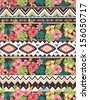 seamless ethnic mix  tropical flower seamless vector pattern background - stock photo