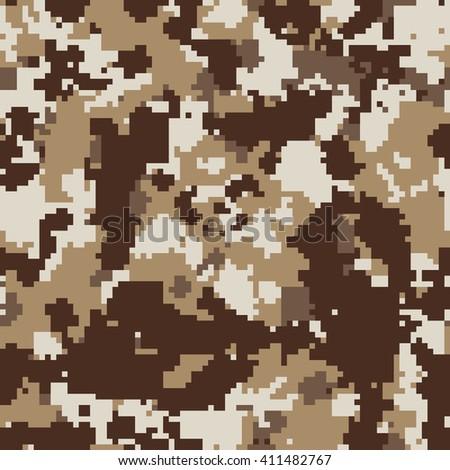 Seamless Fashion Pixel 8 Bit Square Desert Camo Pattern Vector