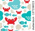 Seamless fish and lobster crab ocean seashell background pattern in vector - stock vector