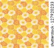 Seamless floral background, symbolical colorful chamomile flowers. Vector - stock vector