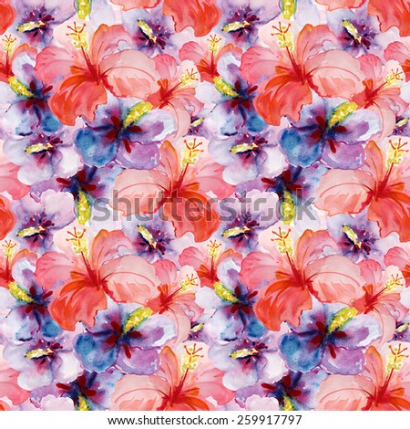 Seamless floral background with flowers. Hand painted watercolor painting. Vector
