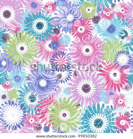 Seamless floral pastel pattern with colorful flowers and vintage curls ...