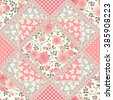 Seamless floral patchwork pattern with roses, leaves and laces. Vector squared tiled background. - stock vector