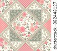 Seamless floral patchwork pattern with roses, leaves and lacy frames. Vector rhombus tiled background. - stock vector
