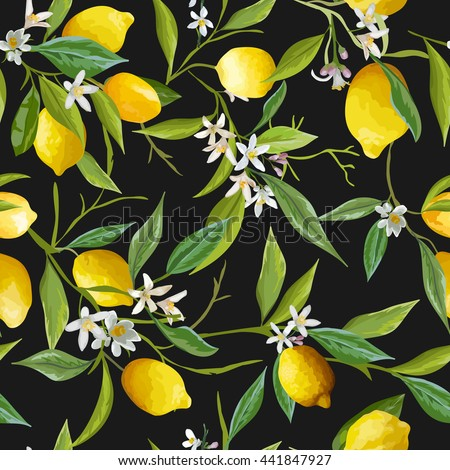 Seamless Floral Pattern. Lemon Fruits Background. Flowers, Leaves, Lemons. Vector