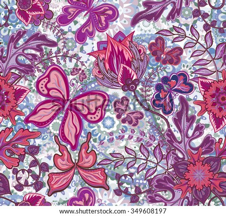 Seamless floral pattern with fantasy flowers and butterflies on colorful pastel background, hand draw. Vector illustration.