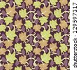 Seamless floral pattern with grape and leaves. - stock vector