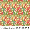 Seamless floral pattern with hand drawn flowers and berries - stock vector