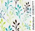 Seamless floral pattern with leaves - stock photo